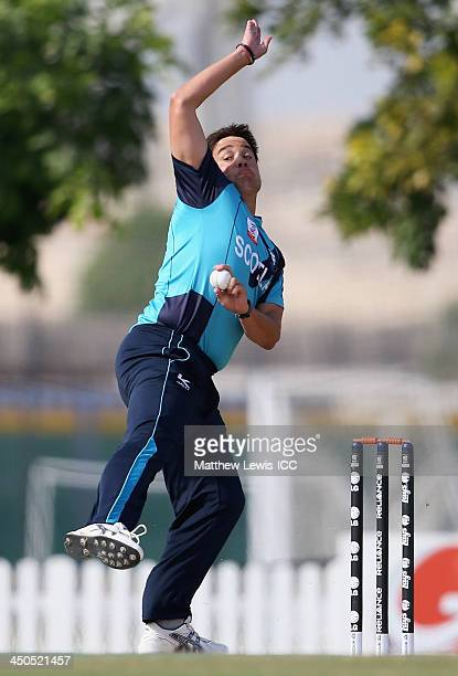 Neil Carter of Scotland in action during the ICC World Twenty20 Qualifier match between Scotland and Kenya at the ICC Academy on November 19 2013 in...