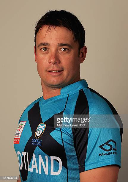 Neil Carter of Scotland pictured during a headshot session ahead of the ICC World Twenty20 Qualifiers on November 11 2013 in Dubai United Arab...