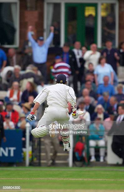 Neil Carter of Warwickshire celebrates after scoring the winning runs during the Benson and Hedges Cup SemiFinal between Lancashire and Warwickshire...