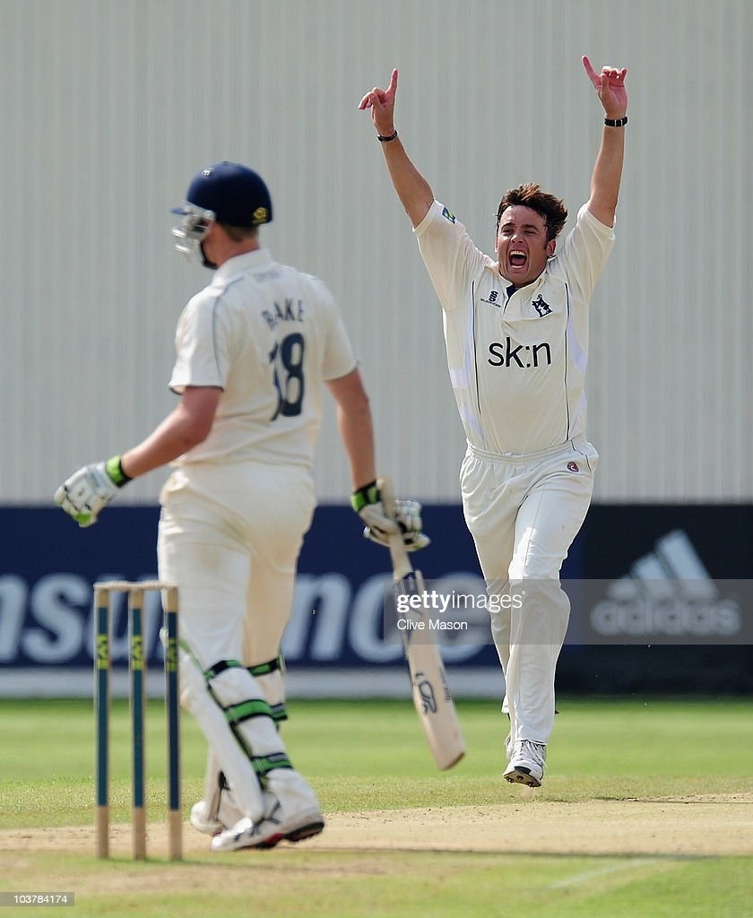 Neil Carter of Warwickshire celebrates dismissing Alex Blake of Kent during day three of the LV County Championship match between Warwickshire and Kent at Edgbaston on September 2, 2010 in Birmingham, England.