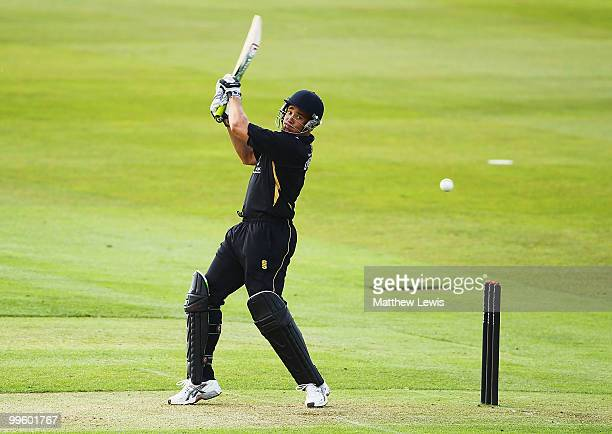 Neil Carter of Warwickshire edges the ball towards the boundary during the Clydesdale Bank 40 match betwen Warwickshire and Kent at Edgbaston on May...