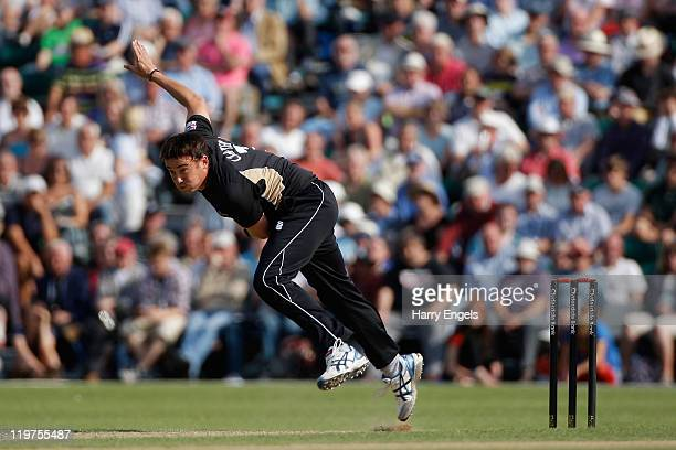 Neil Carter of Warwickshire in action during the Clydesdale Bank 40 match between Surrey and Warwickshire at Guildford Cricket Club on July 24 2011...