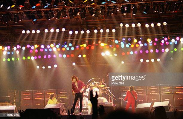 Neil Carter Pete Way Phil Mogg and Paul Chapman of UFO perform on stage at The Reading Festival on August 23rd 1980 in Reading Berkshire England