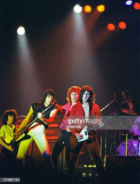 Neil Carter Phil Mogg and Paul Chapman of UFO perform on stage at The Reading Festival on August 23rd 1980 in Reading Berkshire England