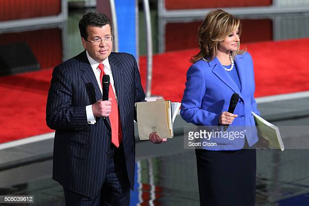 Neil Cavuto and Maria Bartiromo, moderators of the Fox Business Network Republican presidential debate speak to the audience on stage at the North...