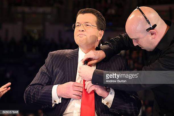 Neil Cavuto, moderator of the Fox Business Network Republican presidential debate arrives on stage at the North Charleston Coliseum and Performing...