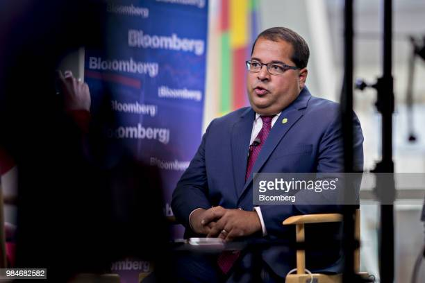 Neil Chatterjee chairman of the US Federal Energy Regulatory Commission speaks during a Bloomberg Television interview at the World Gas Conference in...