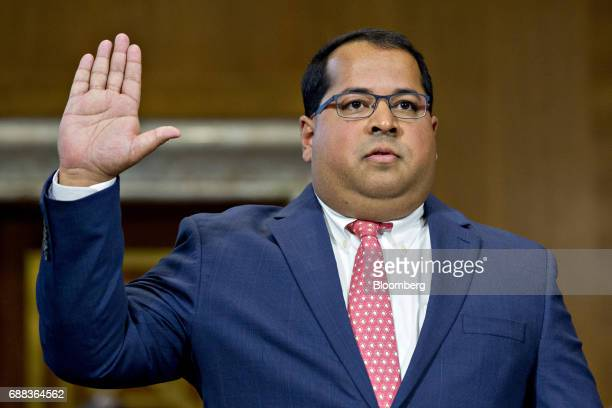 Neil Chatterjee nominee to be a member of the Federal Energy Regulatory Commission for US President Donald Trump swears in to a Senate Energy and...