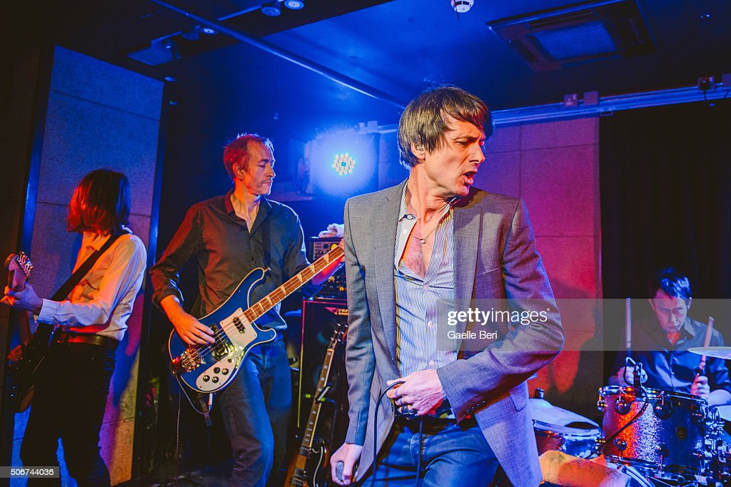 Neil Codling, Mat Osman and Brett Anderson of Suede perform live at The Ace Hotel on January 25, 2016 in London, England.