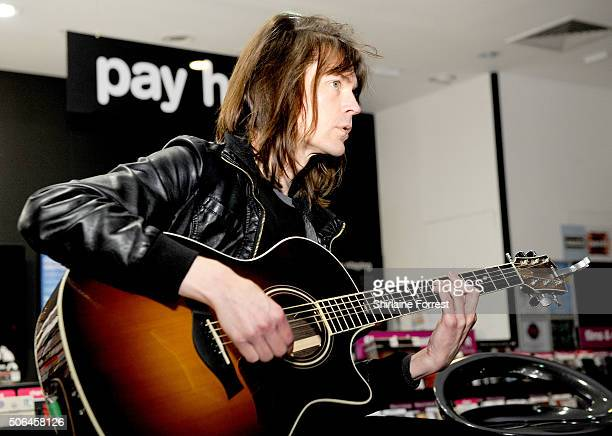 Neil Codling of Suede perform a live acoustic set and sign copies of their new album 'Night Thoughts'at HMV Manchester on January 23 2016 in...