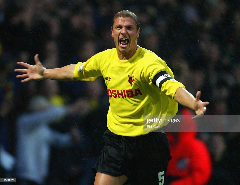 Neil Cox of Watford celebrates scoring the opening goal : News Photo