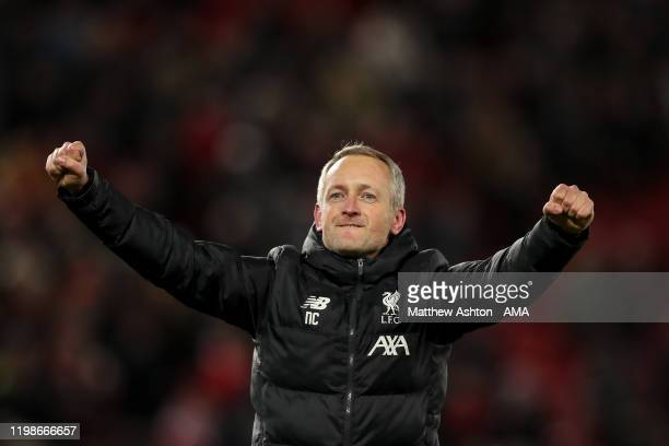Neil Critchley the head coach / manager of Liverpool U21 celebrates at full time during the FA Cup Fourth Round Replay match between Liverpool and...