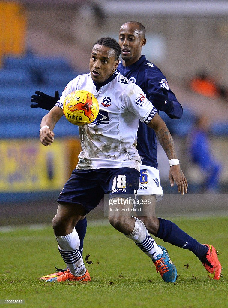 Neil Danns of Bolton in action during the Sky Bet Championship match between Millwall and Bolton Wanderers at The Den on December 19, 2014 in London, England.