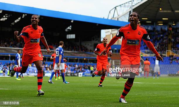 Neil Danns of Bolton Wanderers celebrates his goal during the Sky Bet Championship match between Birmingham City and Bolton Wanderers at St Andrews...