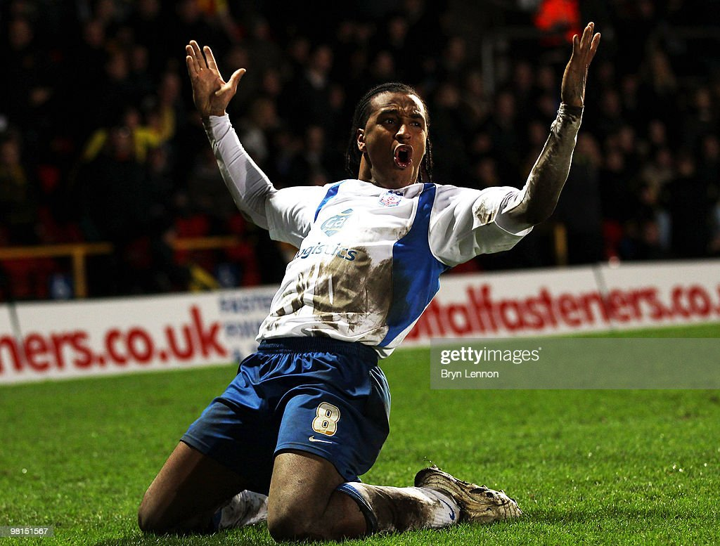 Neil Danns of Crystal Palace celebrates scoring during the Coca-Cola Football League Championship match between Watford and Crystal Palace at Vicarage Road on March 30, 2010 in London, England.