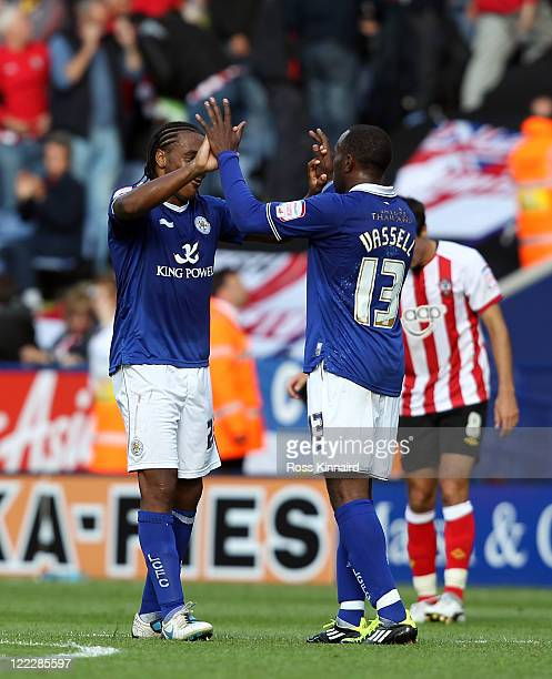 Neil Danns of Leicester celebrates with Darius Vassel of Leicester after the npower Championship match between Leicester City v Southampton at The...