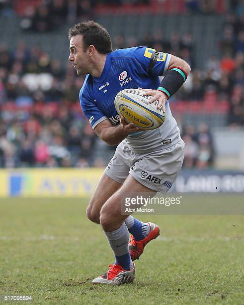 Neil de Kock of Saracens during the Aviva Premiership match between Leicester Tigers and Saracens at Welford Road on March 20 2016 in Leicester...