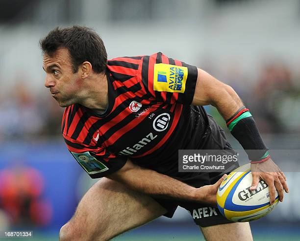 Neil De Kock of Saracens in action during the Aviva Premiership Semi Final match between Saracens and Northampton Saints at Allianz Park on May 12...