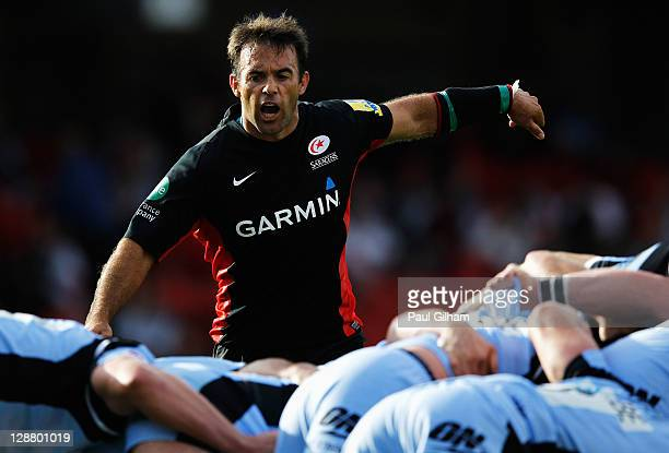 Neil De Kock of Saracens looks on during the AVIVA Premiership match between Saracens and Newcastle Falcons at Vicarage Road on October 9 2011 in...