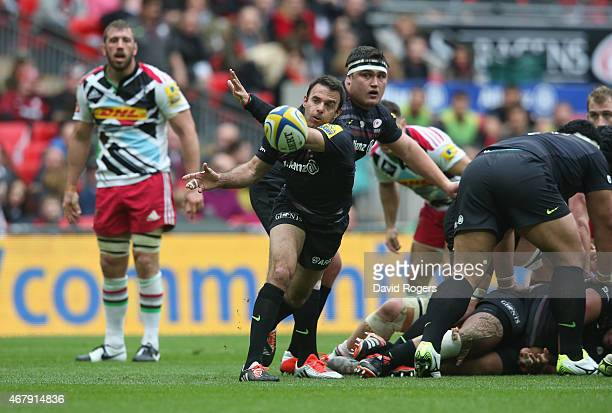 Neil de Kock of Saracens passes the ball during the Aviva Premiership match between Saracens and Harlequins at Wembley Stadium on March 28 2015 in...