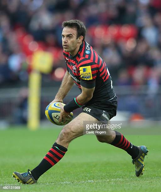 Neil de Kock of Saracens passes the ball during the Aviva Premiership match between Saracens and Harlequins at Wembley Stadium on March 22 2014 in...