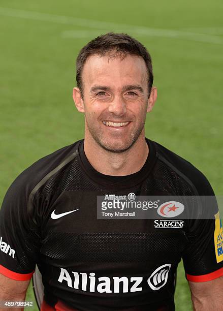Neil De Kock of Saracens poses for a portrait at the photocall held at Allianz Park on September 24 2015 in Barnet England