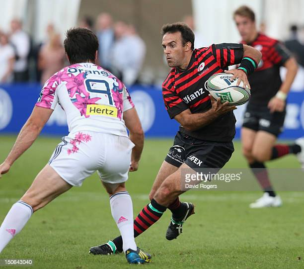 Neil de Kock of Saracens runs with the ball during the pre season friendly match between Saracens and Stade Francais at the Honourable Artillery...