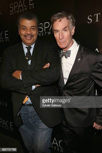 """Neil deGrasse Tyson and Bill Nye attend STX Entertainment with The Cinema Society Host a Screening of """"The Space Between Us"""" on January 25, 2017 in..."""