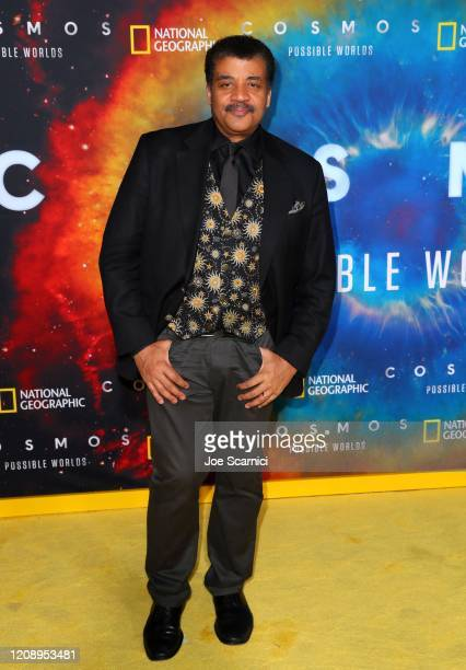 """Neil deGrasse Tyson attends National Geographic's Los Angeles Premiere Of """"Cosmos: Possible Worlds"""" at Royce Hall, UCLA on February 26, 2020 in..."""