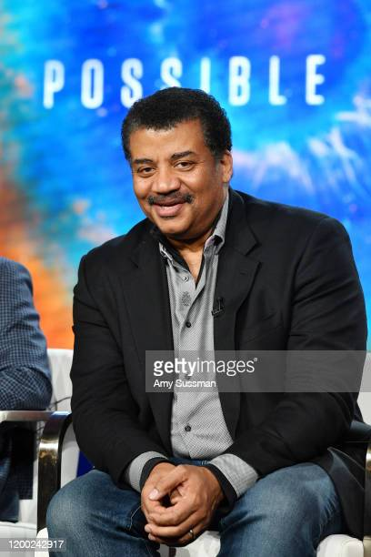 """Neil deGrasse Tyson of """"Cosmos Possible Worlds"""" speaks during the National Geographic Panel segment of the 2020 Winter TCA Press Tour at The Langham..."""