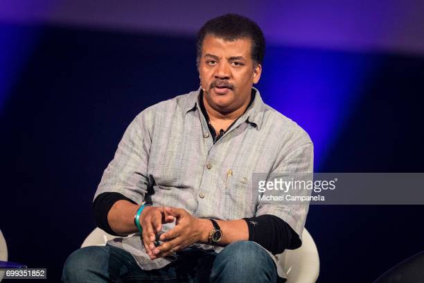 Neil deGrasse Tyson participates in a roundtable discussion during the Starmus Festival on June 21 2017 in Trondheim Norway