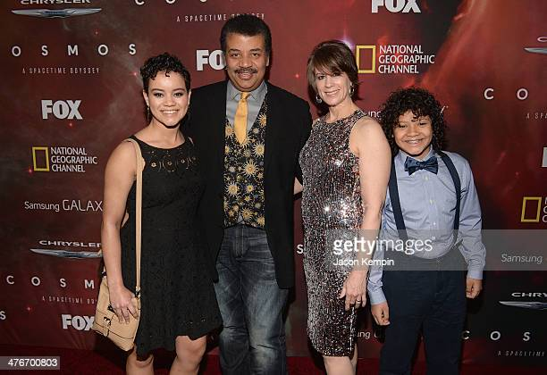 Neil deGrasse Tyson with daugther Miranda Tyson wife Alice Young and son Travis Tyson attend the premiere of Fox's Cosmos A SpaceTime Odyssey at The...