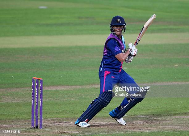Neil Dexter of Middlesex hits out during the Royal London OneDay Cup match between Middlesex Panthers and Nottinghamshire Outlaws at Lord's Cricket...