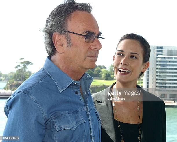 Neil Diamond and Rachael Farley during Neil Diamond Tour Sydney Press Conference March 1 2005 at The Quay Restaurant in Sydney NSW Australia