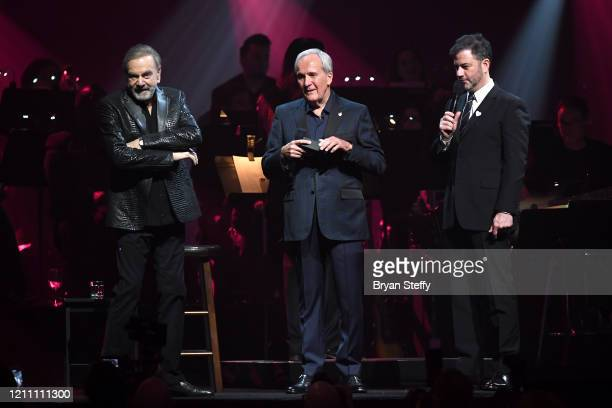 Neil Diamond Larry Ruvo and Jimmy Kimmel speak at the 24th annual Keep Memory Alive 'Power of Love Gala' benefit for the Cleveland Clinic Lou Ruvo...