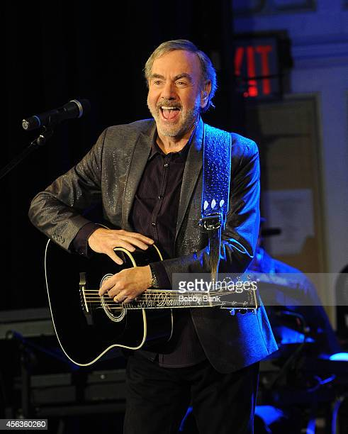 Neil Diamond performs at Erasmus Hall High School for a Special Performance And Announcement on September 29 2014 in the Brooklyn borough of New York...
