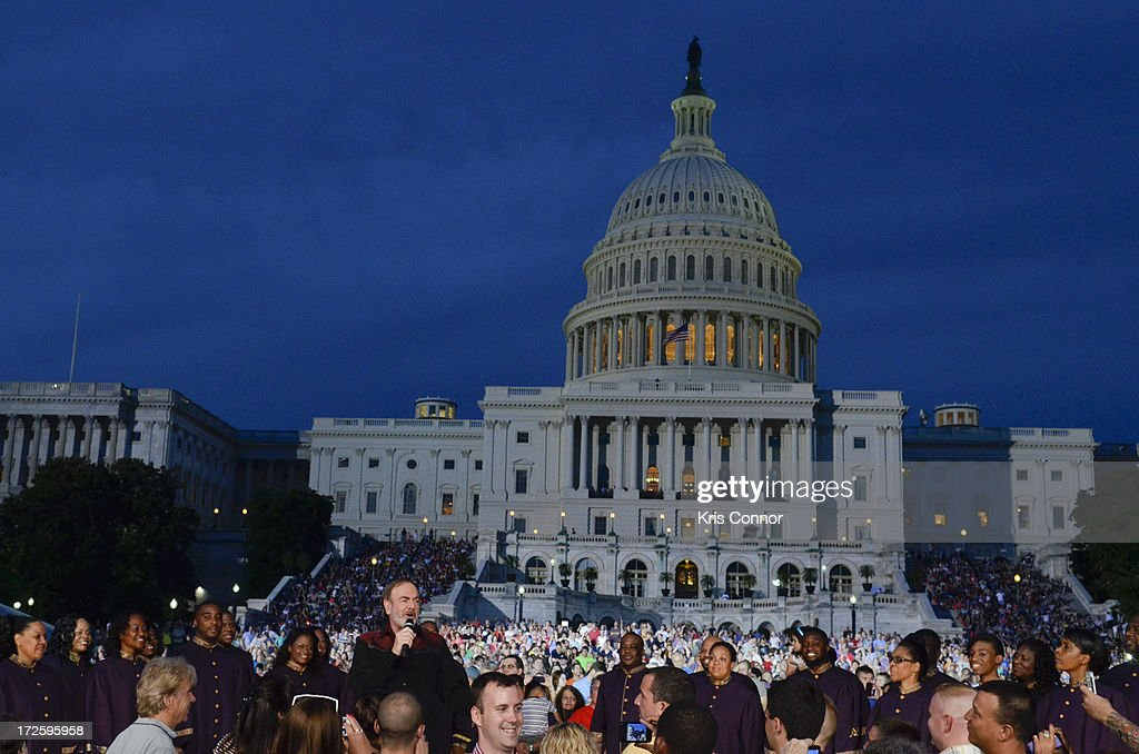 Neil Diamond performs during a rehearsal for the 'A Capitol Fourth 2013 Independence Day Concert' on the West Lawn of the US Capitol on July 3, 2013 in Washington, DC.