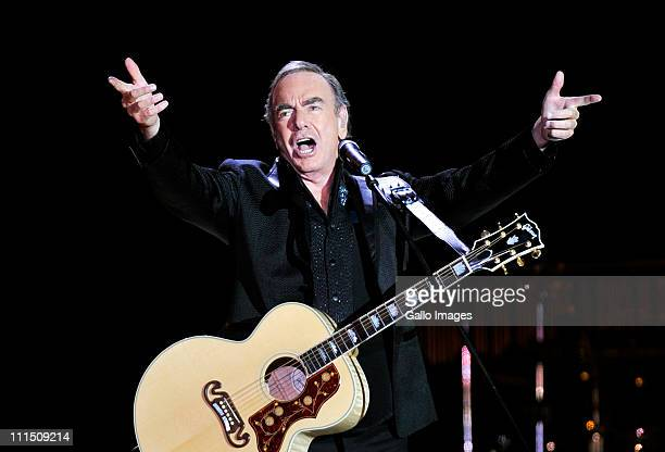 Neil Diamond performs live on stage at the FNB Stadium on April 2 2011 in Johannesburg South Africa