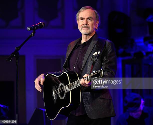 Neil Diamond performs onstage at Erasmus Hall High School on September 29 2014 in Brooklyn New York