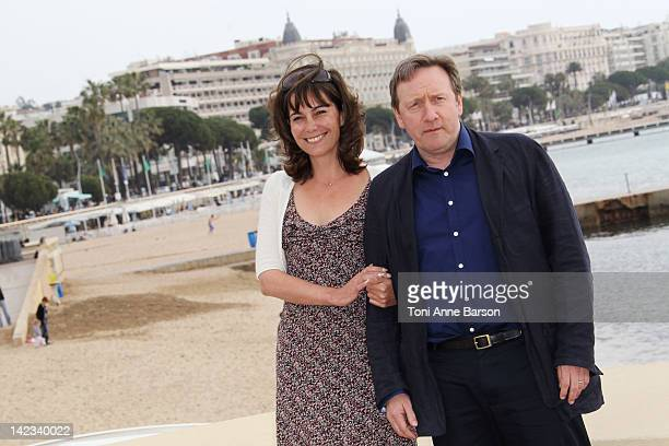 """Neil Dudgeon and Fiona Dolman attend """"Midsomer Murders"""" Photocall as part of MIP TV 2012 Hotel Majestic on April 2, 2012 in Cannes, France."""