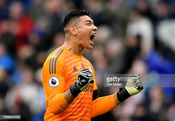 Neil Etheridge of Cardiff City celebrates after teammate Sol Bamba scores their team's second goal during the Premier League match between Cardiff...