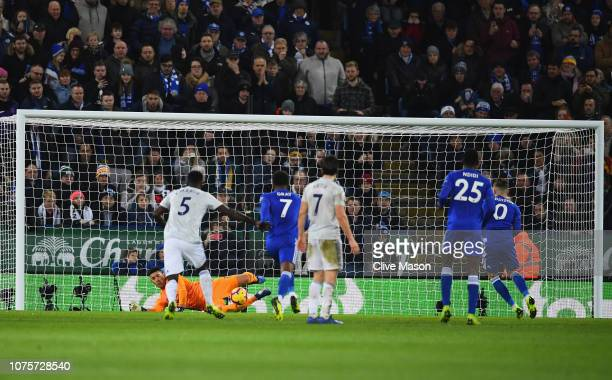 Neil Etheridge of Cardiff City saves a penalty from James Maddison of Leicester City during the Premier League match between Leicester City and...
