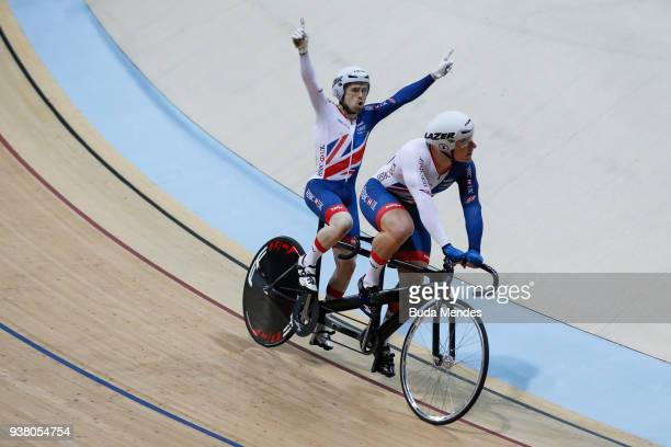 Neil Fachie and Matthew Rotherham of Great Britain celebrate the gold medal after winning the Men's Sprint on day 04 of the Paracycling World...