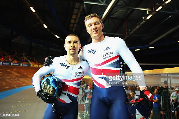 Neil Fachie and Pete Mitchell of the Great Britain Cycling Team celebrate winning the Men's B Sprint on day four of the UCI Paracycling Track World...