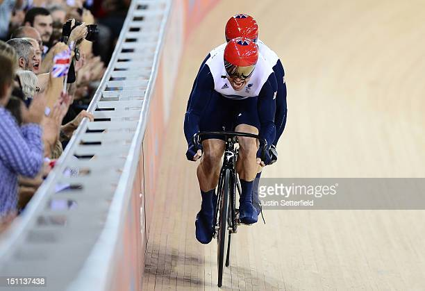 Neil Fachie of Great Britain with pilot rider Barney Storey in action during a Men's Individual Cycling B Sprint qualifying race on Day 4 of the...