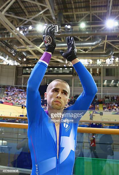 Neil Fachie of Scotland acknowledges the crowd after winning gold in the Men's 1000m Time Trial B2 Tandem at Sir Chris Hoy Velodrome during day two...