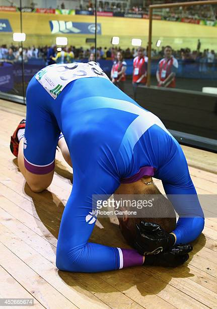 Neil Fachie of Scotland reacts after winning gold in the Men's 1000m Time Trial B2 Tandem at Sir Chris Hoy Velodrome during day two of the Glasgow...