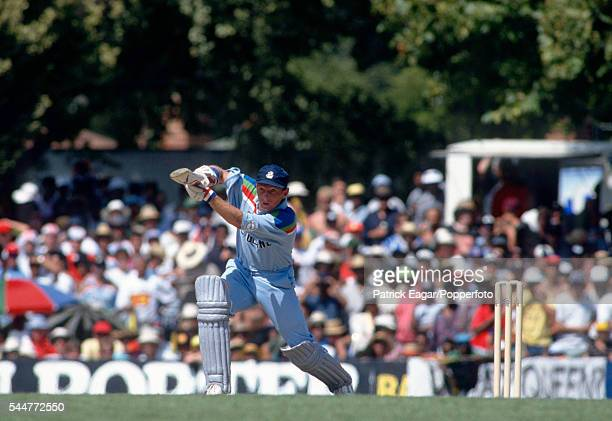 Neil Fairbrother batting for England during his innings of 63 runs in the World Cup match between England and Sri Lanka at Ballarat Australia 9th...