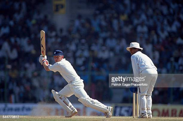 Neil Fairbrother batting for England during his innings of 83 runs in the 2nd Test match between India and England at Madras India 13th February 1993...