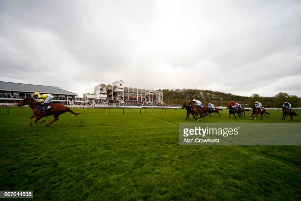 Neil Farley riding Justanotherbottle win The totepoolliveinfocom Visit For Racing Results Handicap Stakes at Nottingham Racecourse on April 12 2017...